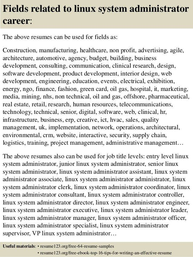 Systems Administrator Resume Examples Systems Administrator - linux administrator resume