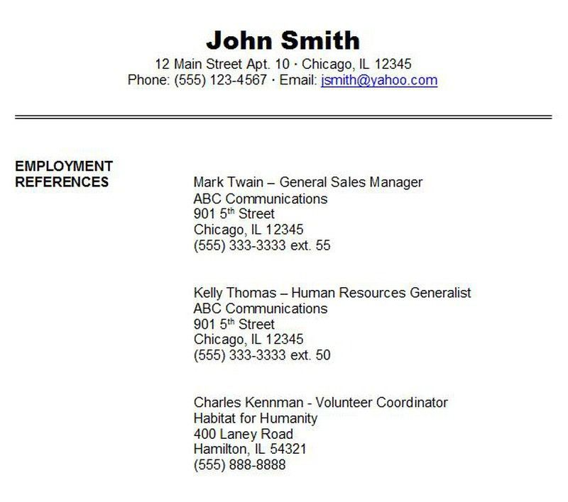 Sample Reference Sheet For Resume Resume Template References Page - sample reference page for resume