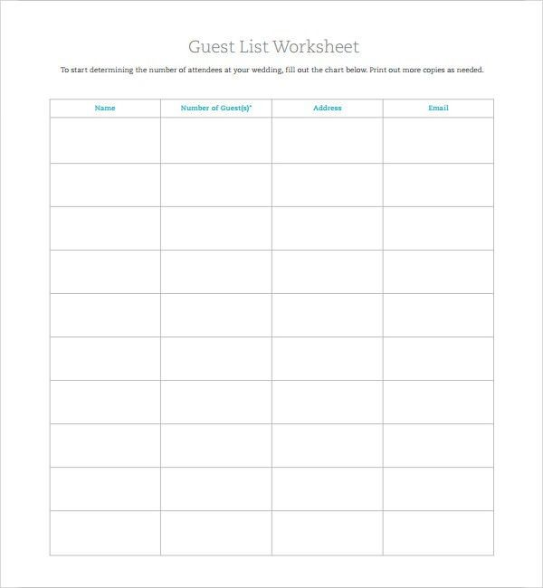 Free Wedding Guest List Template 7 Free Wedding Guest List - guest list sample