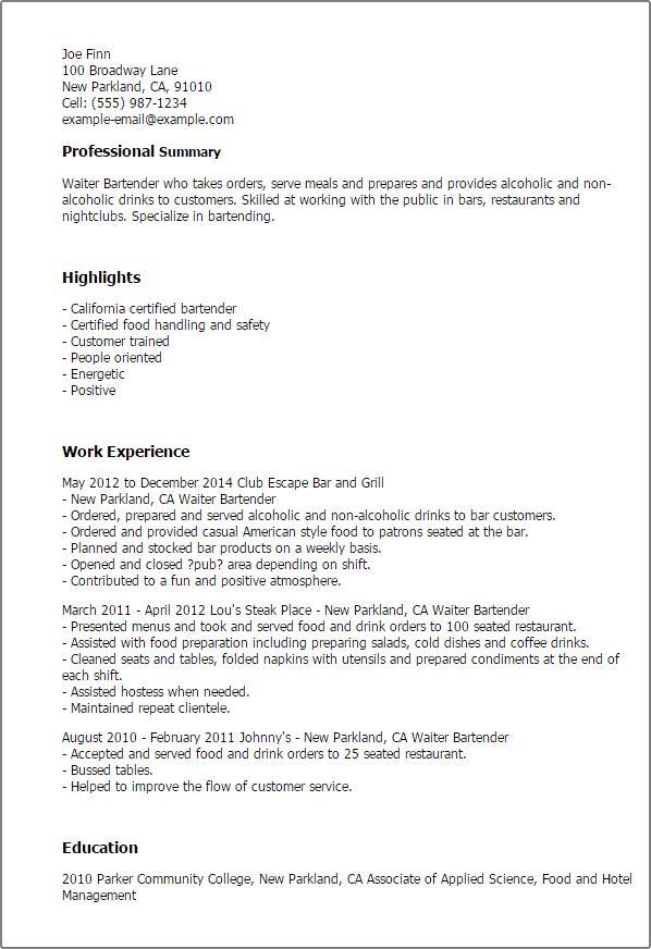 bartender resume sample download bartender resume examples