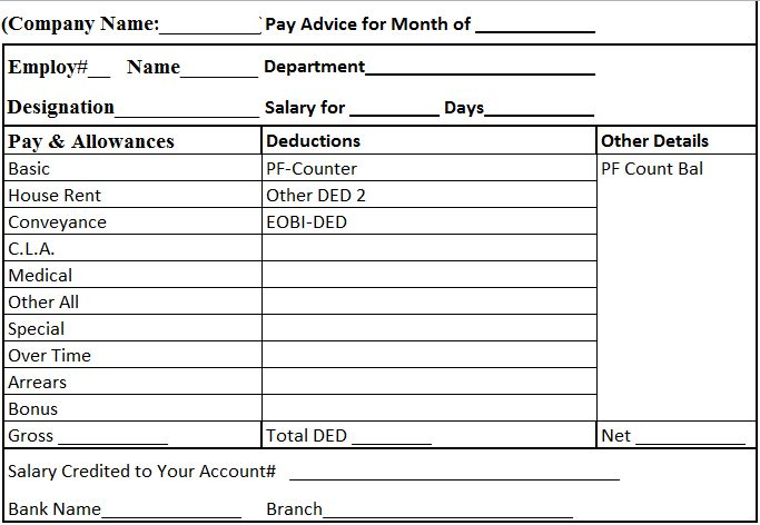 Salary slip format graphics and templates - payroll slip format
