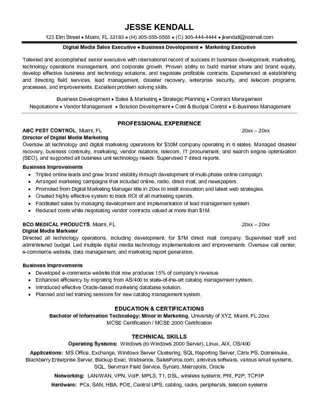 sample resume sales and marketing