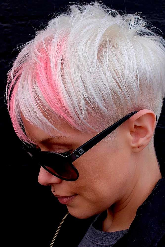 Ice Blonde Pixie With Pink Highlights #iceblondehair #highlightshair ★  Short hairstyles for round faces are in trend! If you have blonde hair and a round face, check out these 40 hairstyle ideas. #glaminati #lifestyle #shorthairstylesforroundfaces