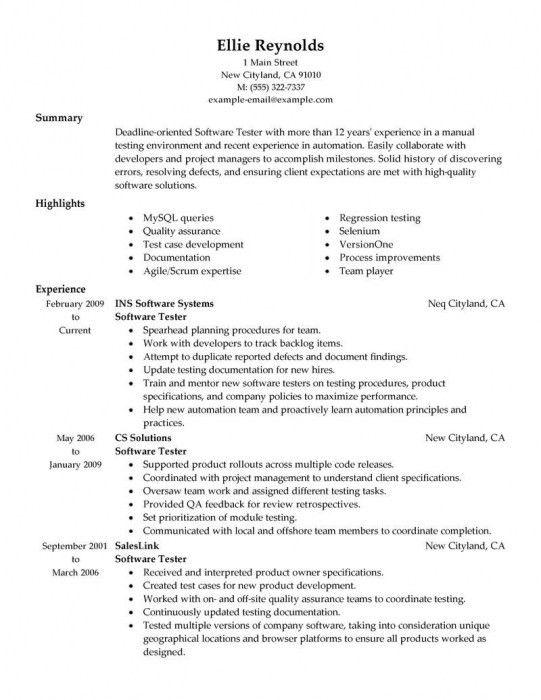 sample testing resumes software tester resume samples sample