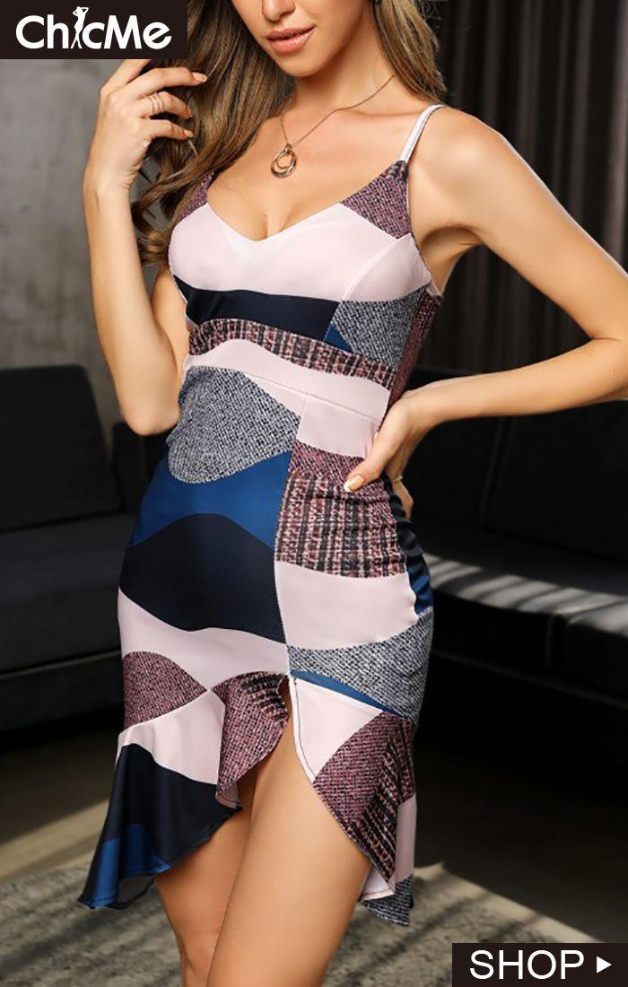 Colorblock Print Spaghetti Strap Ruffles Dress