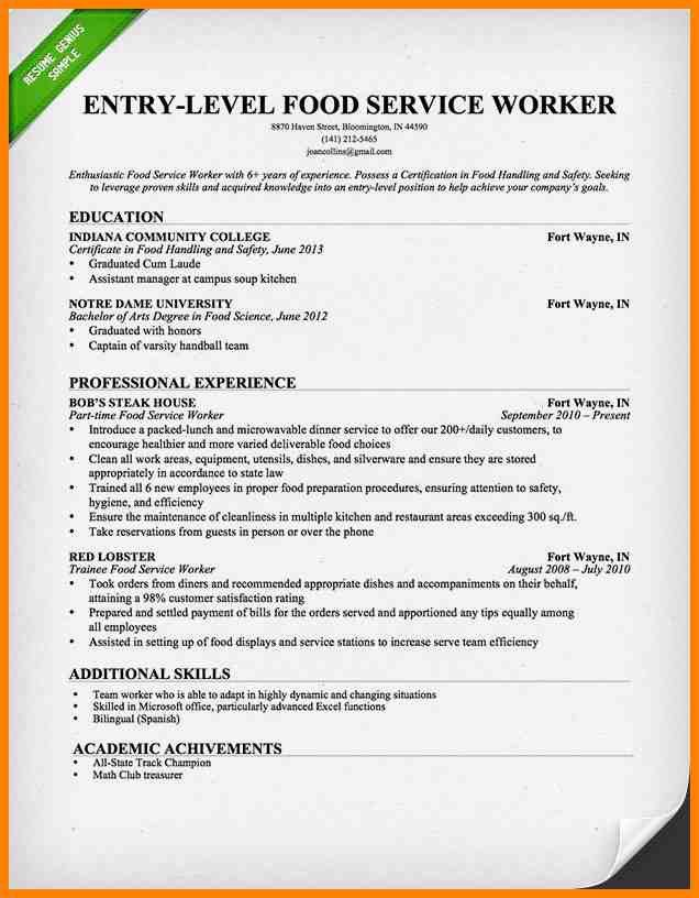 food service worker resume food service waitress waiter resume