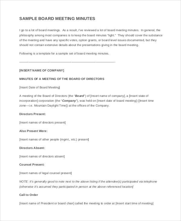 Example Minutes Format Gallery - Download Cv Letter And Format