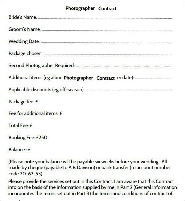 Photography Contract Template 25 Best Photography Contract Ideas - photography contracts