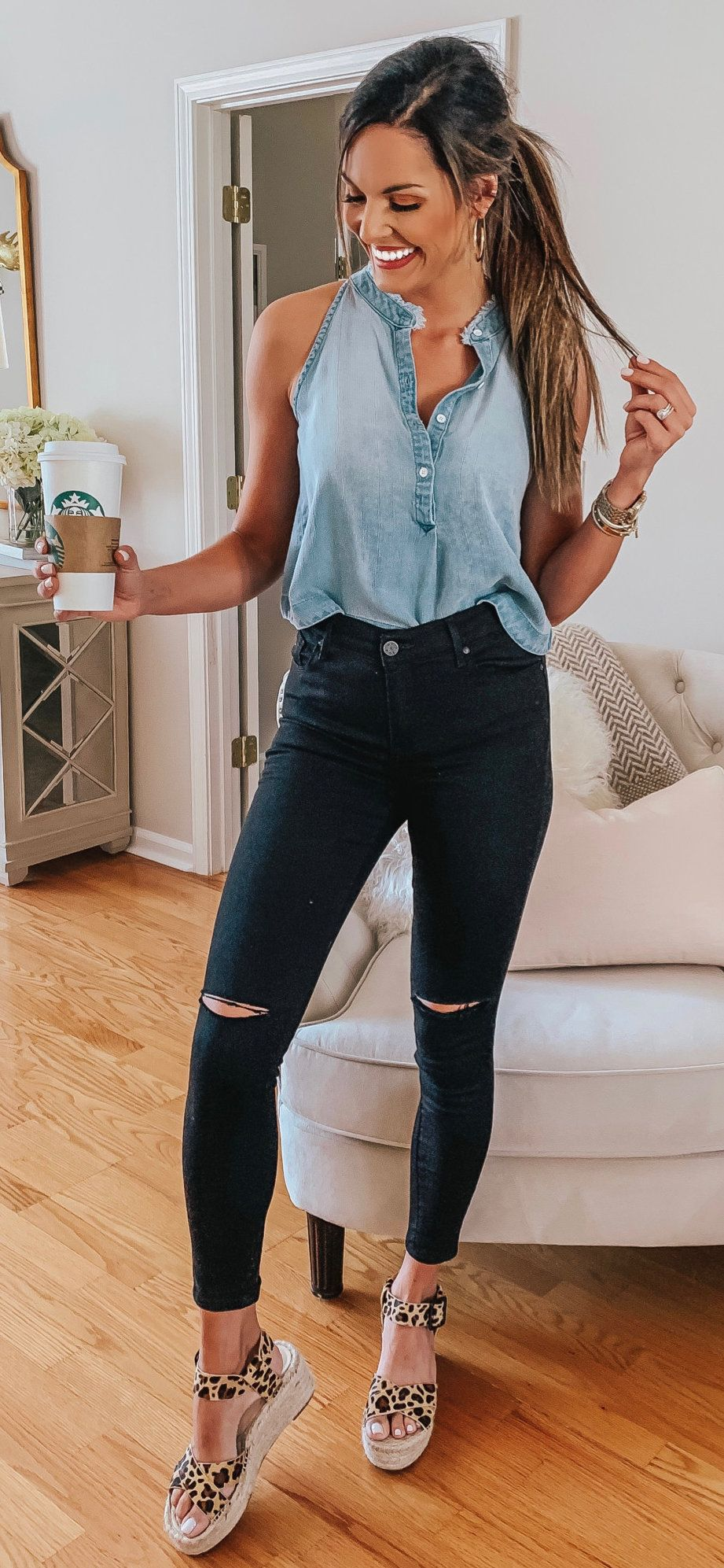 blue button-up sleeveless shirt #spring #outfits