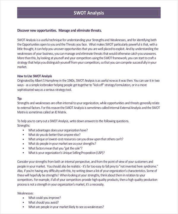 Example Swot Analysis Paper Harvard Style Essay Swot Analysis For - swot analysis example