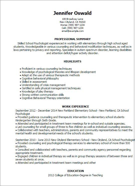 Sample School Psychologist Resume School Psychologist Resume