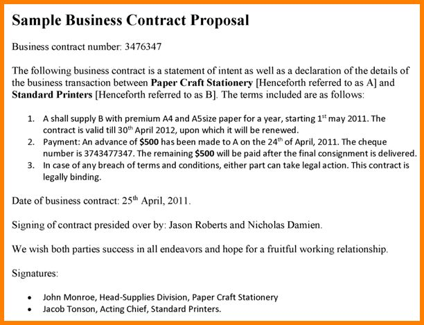 Contract Paper Sample Business Contract Template 10 Free Word Pdf - sample proposal contract