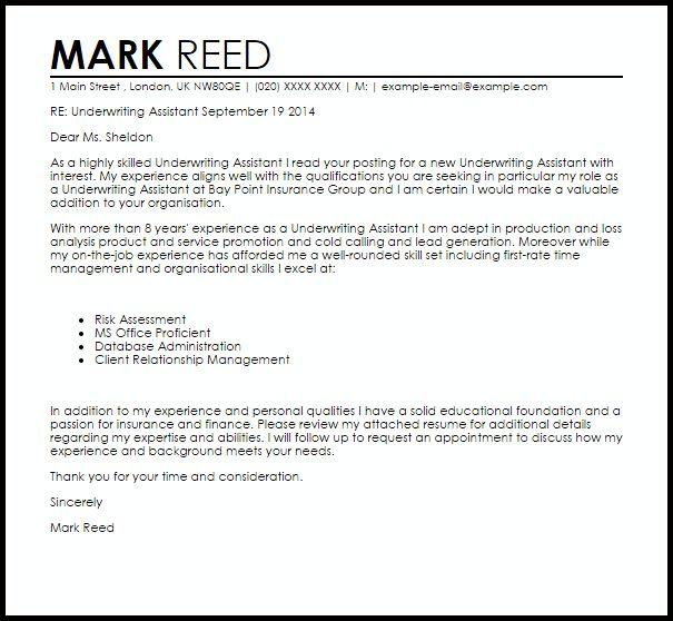 Insurance Underwriter Trainee Cover Letter | Cover Letter