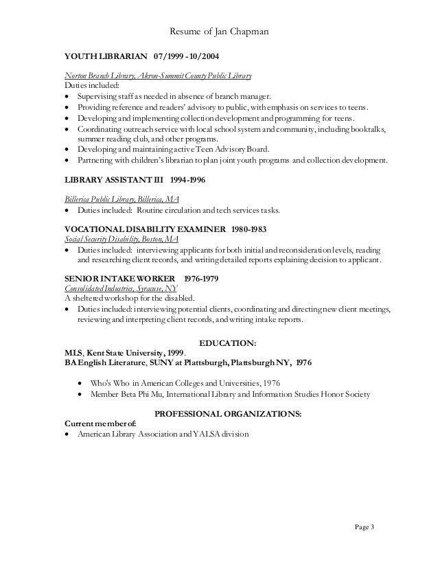 sample childrens librarian resume
