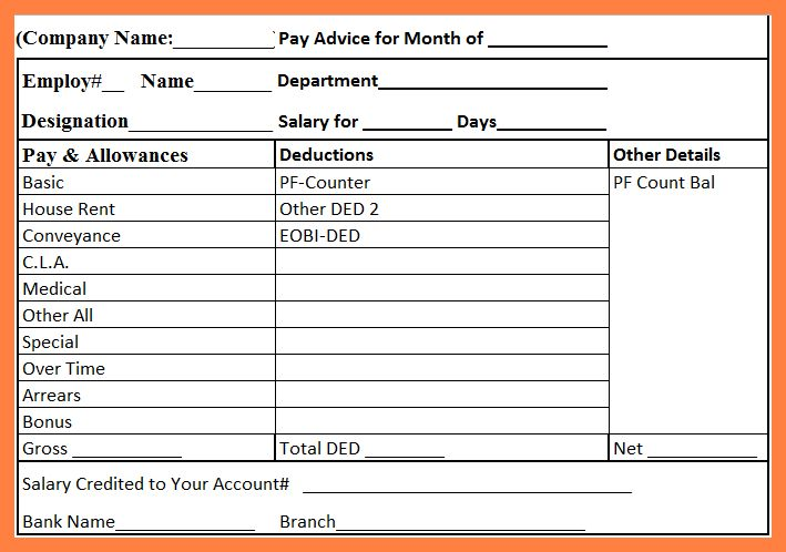 Payslip Format In Excel Free Download Payslip Template In Excel - payslip template in excel