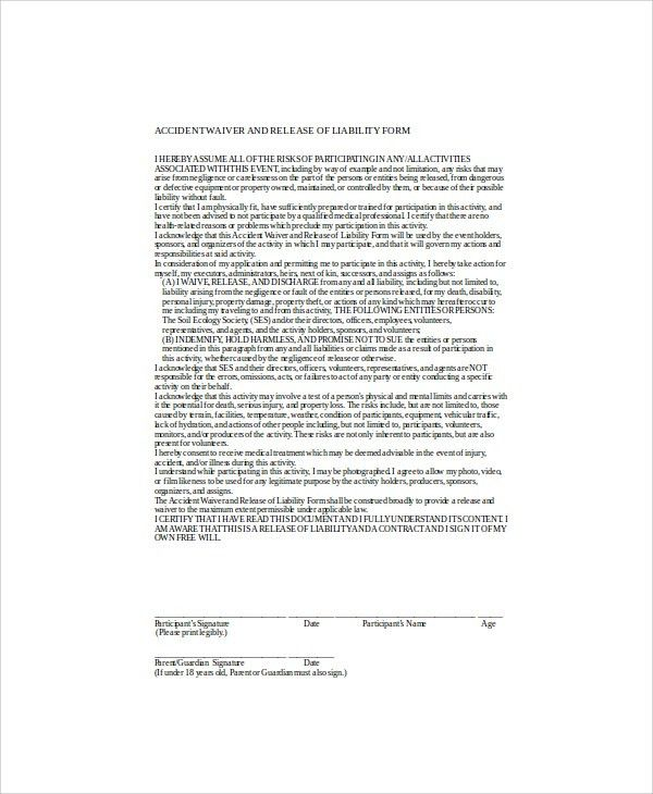 Waiver Of Liability Form Free Printable Sample Release And Waiver - free release of liability form