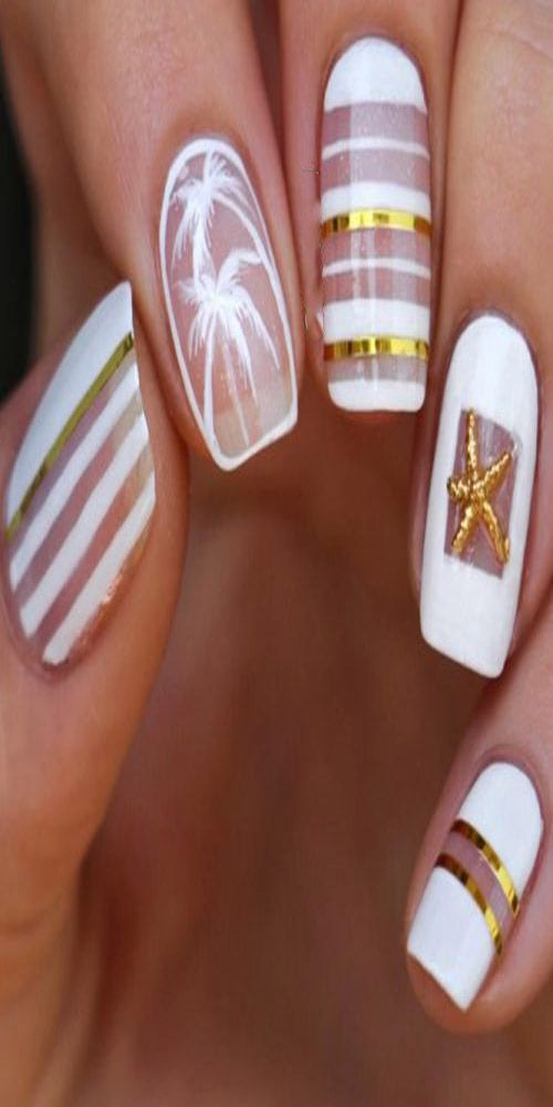 Most Stunning and Deep White Strips Nail Arts and Designs 2019