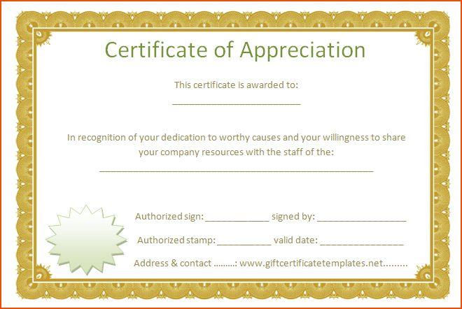 Word Certificate Of Appreciation Template Sample Certificate Of - sample certificate of appreciation