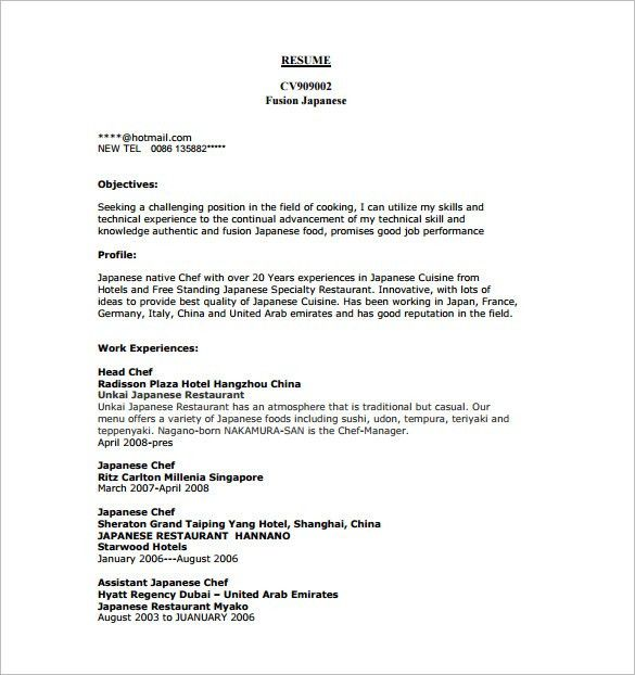 Thai Chef Sample Resume Sous Chef Cv 13 Files Resume For A Chef