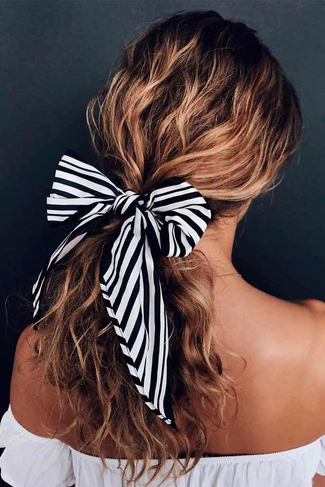 Low Ponytail With Ribbon Bow #ponytailhairstyles #hairribbon ★ Spring break is approaching, and easy hairstyles that look pretty will come in handy whether you have an active or a passive vacation. See our collection. #glaminati #lifestyle #easyhairstyles