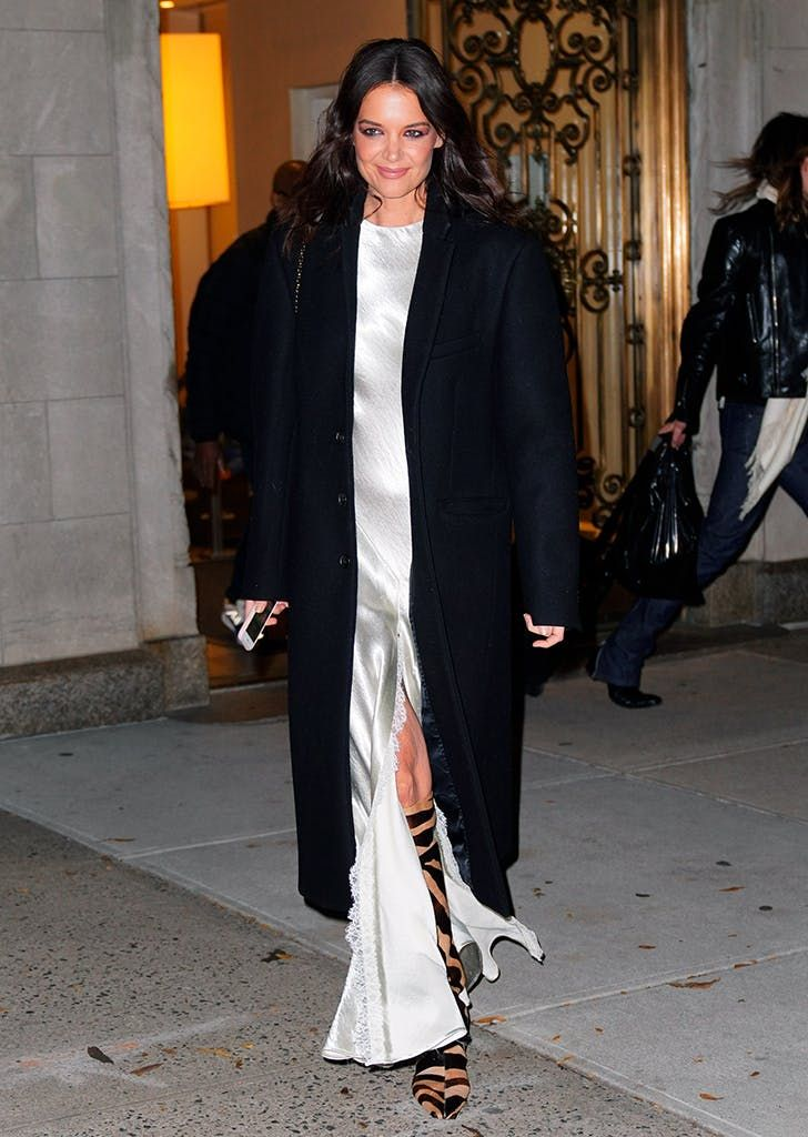 Katie Holmes Makes a Statement in Silver Dress & Animal Print Boots #purewow #fashion #style #celebrity #news #fall