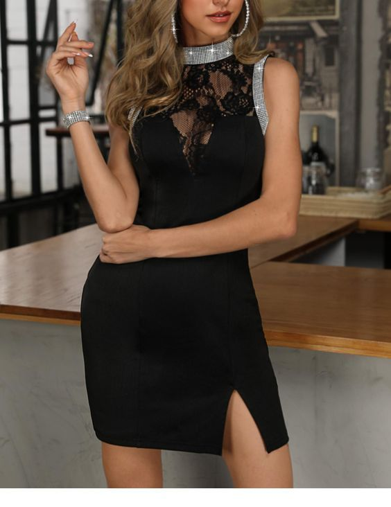 Sweet black short dress with silver glitter