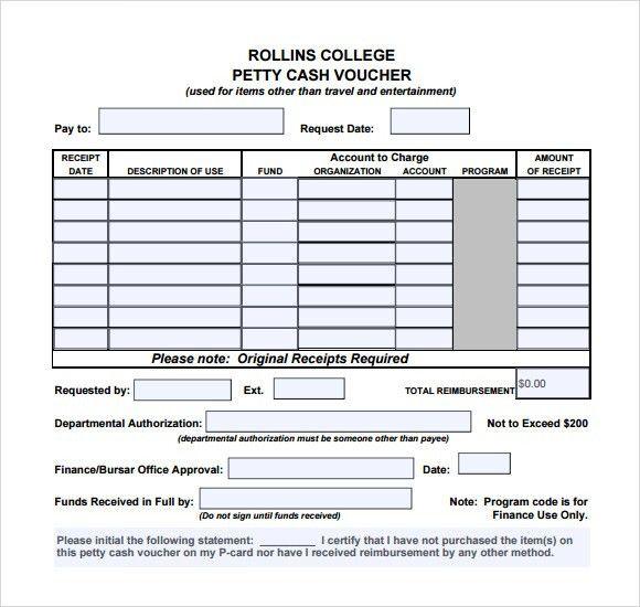 Petty Cash Form Template Petty Cash Log Template Printable Petty - petty cash voucher template