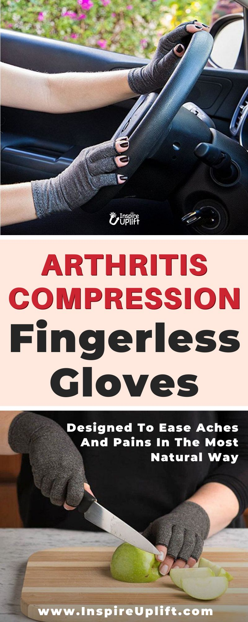 Made of high quality cotton spandex, these Arthritis Compression Fingerless Gloves ensure a comfortable fit and increased mobility all day long. The fingerless design facilitates holding onto things without hindering your every move. Run errands, clean the house, hold slippery items, text messages, work on your computer, cook dinner or even walk the dog!