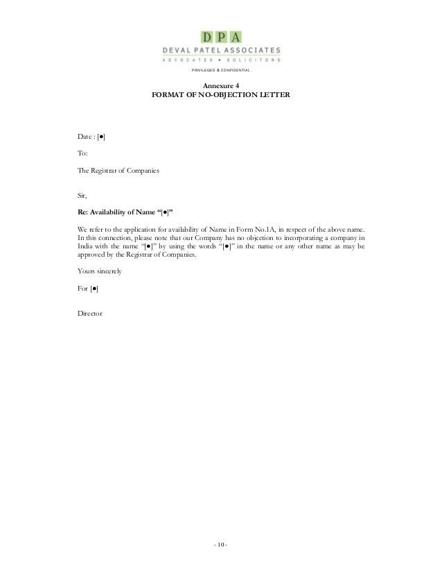 No Objection Letter From Company no objection certificate format - no objection format