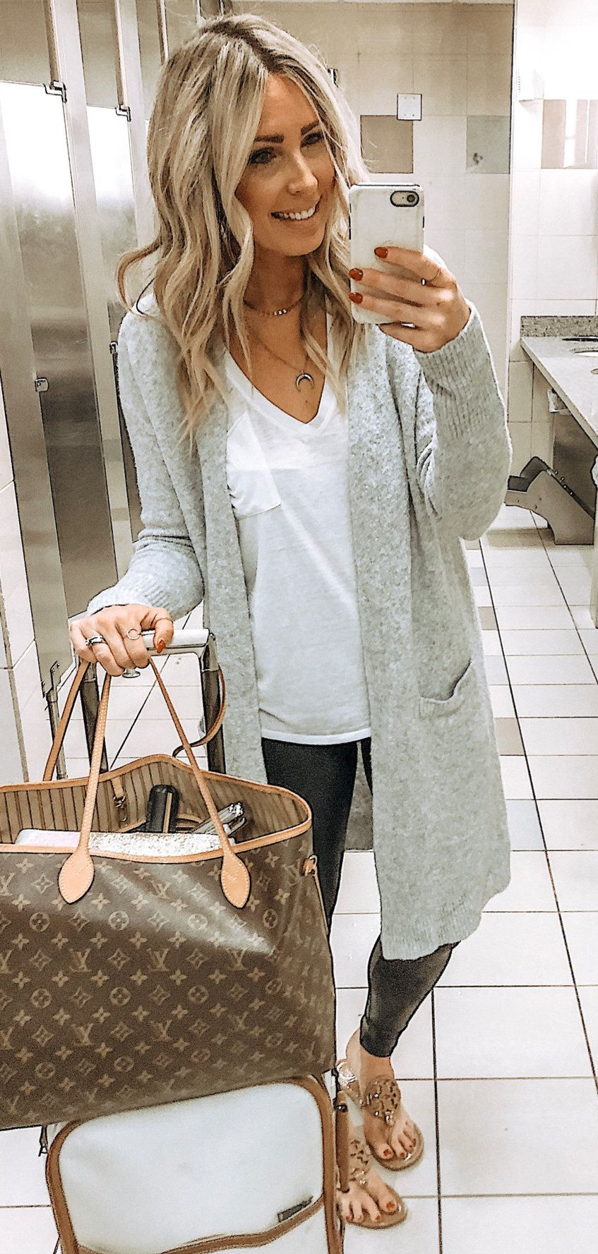 gray long-sleeved cardigan #spring #outfits