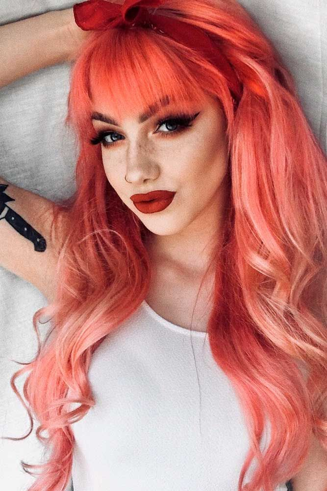 Colored Layered Hairstyle With A Fringe #fringehair #peachhair ★ Explore trendy long haircuts with layers for women. We have ideas for wavy, straight, thin and for thick hair. #glaminati #lifestyle #longhaircuts