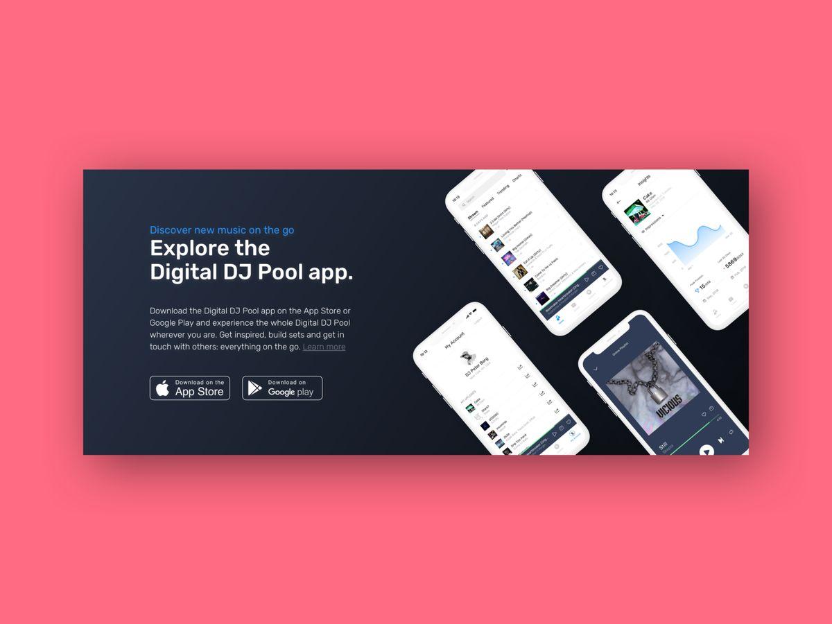 Digital DJ Pool - App Store banner boana music card clean product design app mobile app banner ux ui app store dj landing page