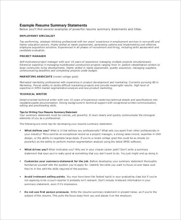 Resume Summary Statement Examples Summary Example For Resume