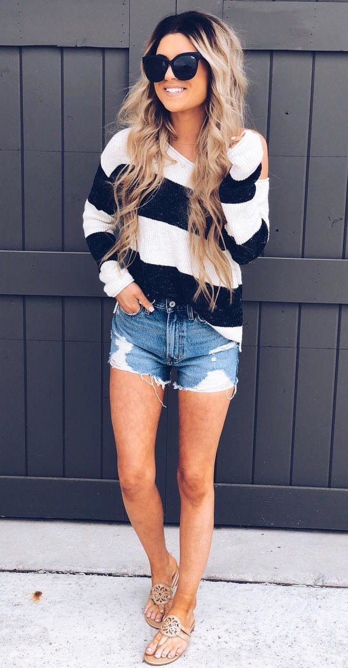 blue denim shorts #spring #outfits