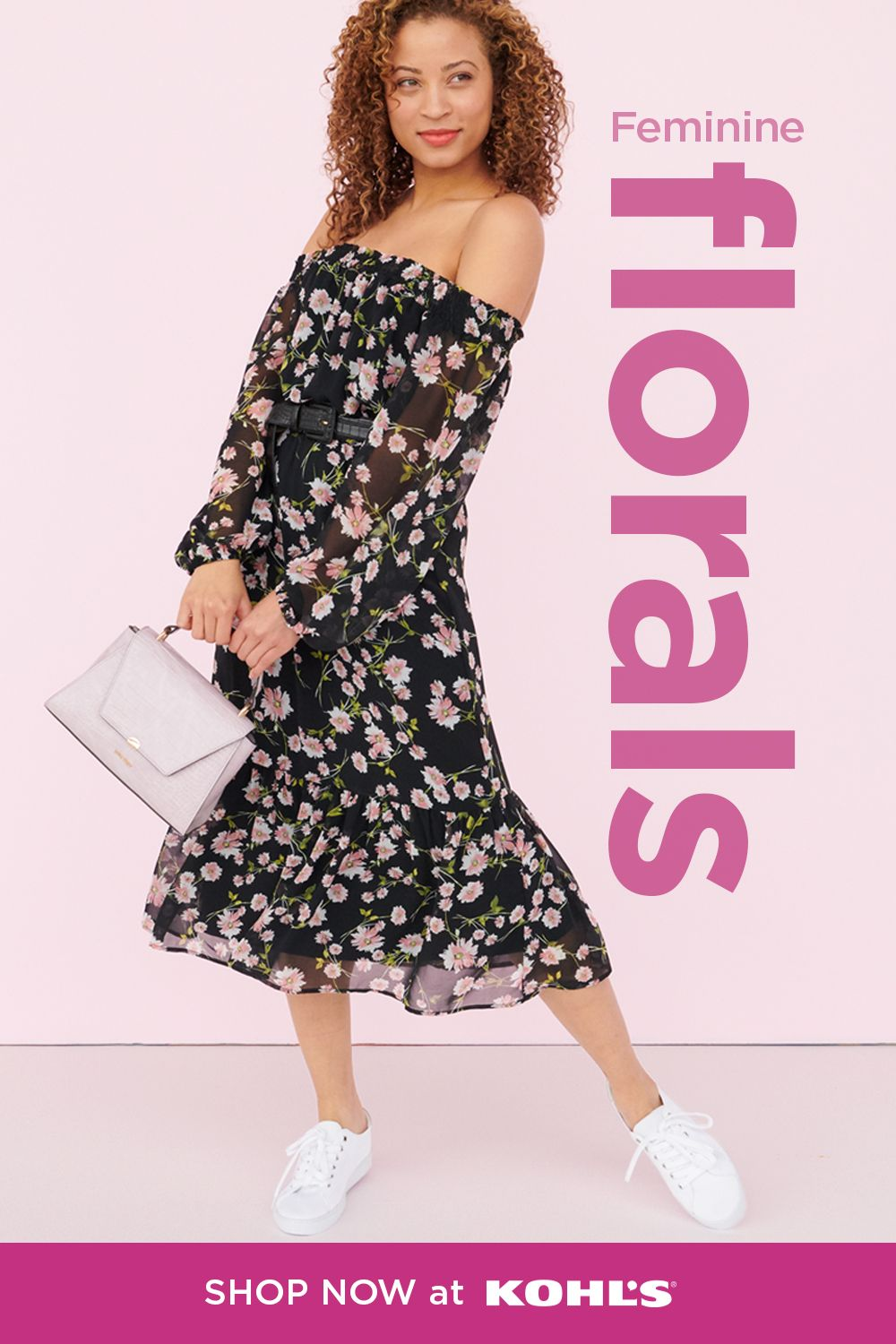 Step into spring with sweet florals and cool accessories. Try out an off-the-shoulder dress with feminine details, then complete the look with a pair of white sneakers and a lavender purse. Shop LC Lauren Conrad, Nine West and more at Kohl's and Kohls.com. #springstyle #dresses