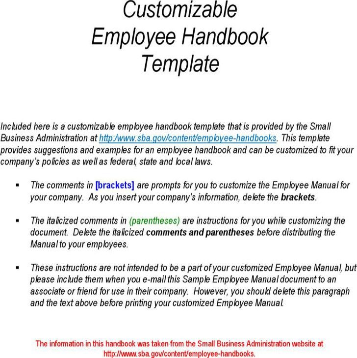Free Employee Training Manual Template Employee Handbook Template - sample employee manual template