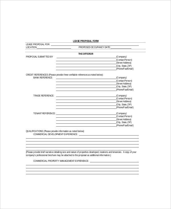 Commercial Lease Proposal Template Sample Real Estate Proposal - real estate proposal template