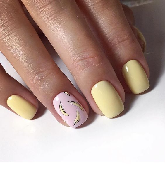 Funny yellow nails idea