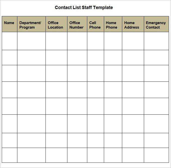 Staff Contact List Template Staff Contact List Template Business - contact list template