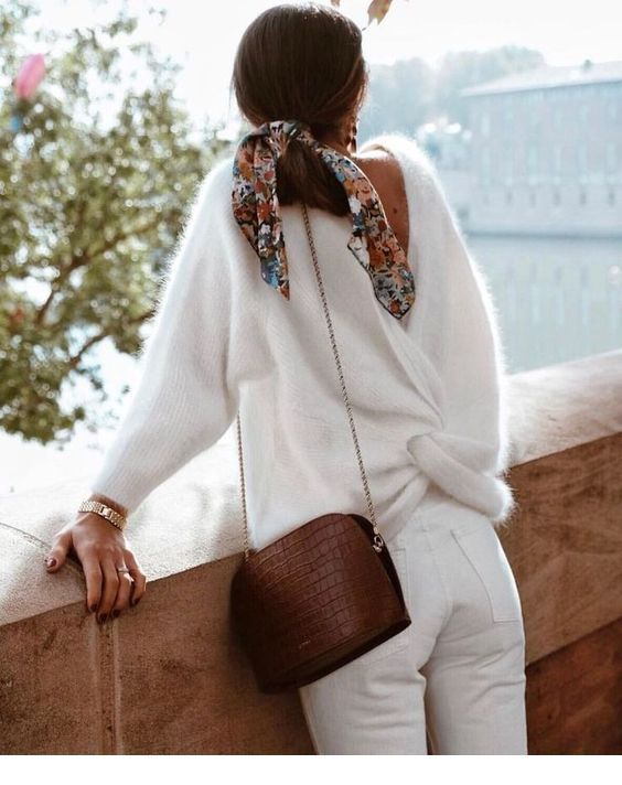White sweater and pants with brown details