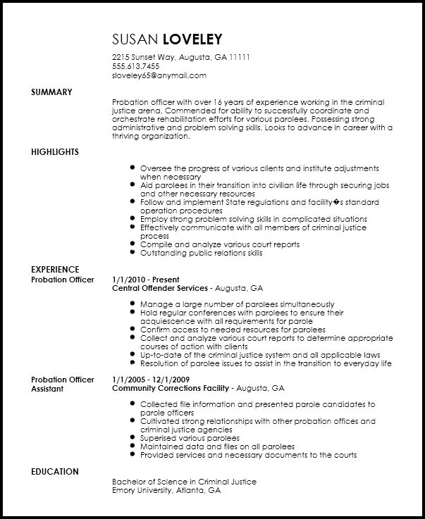 parole officer sample resume node2003-cvresumepaasprovider