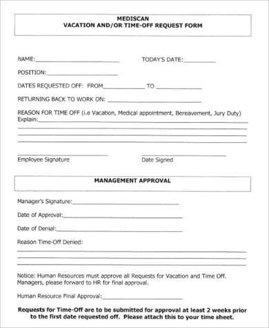 Vacation Request Form Sample Sample Vacation Request Form 8 - time off request forms