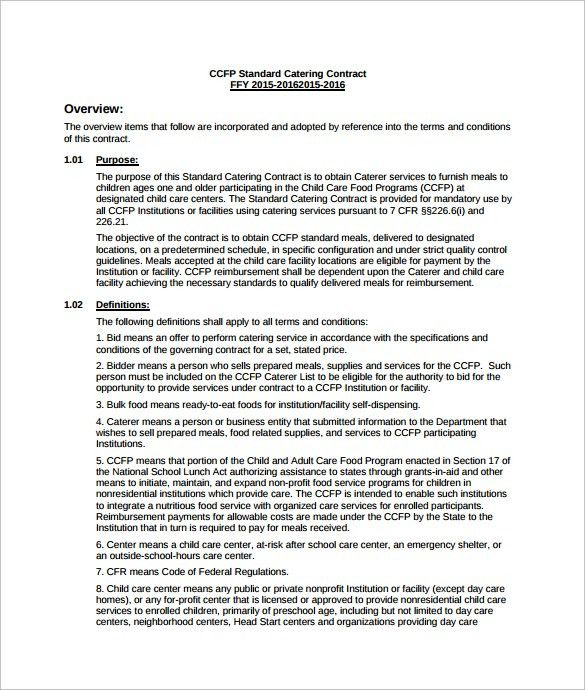 Service Contract Sample Format Contract Template For Services - catering contract template