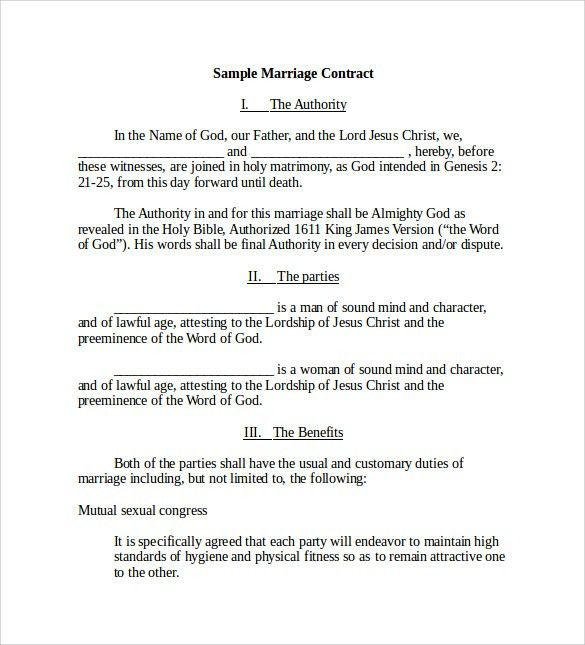Free Employment Contract Template Word 11 Job Contract Templates - marriage contract template