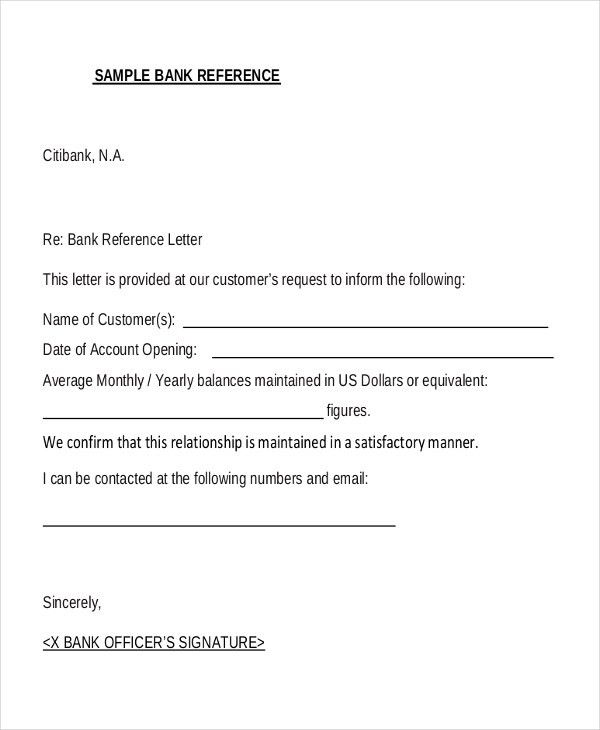 Bank Reference Letter Template 7 Bank Reference Letter Templates - free letter templates