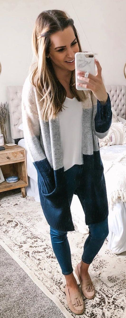 white, gray, and black knit cardigan #spring #outfits