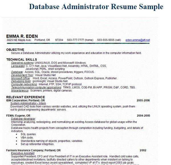 Sample Database Administrator Resume Database Administrator - linux administrator resume