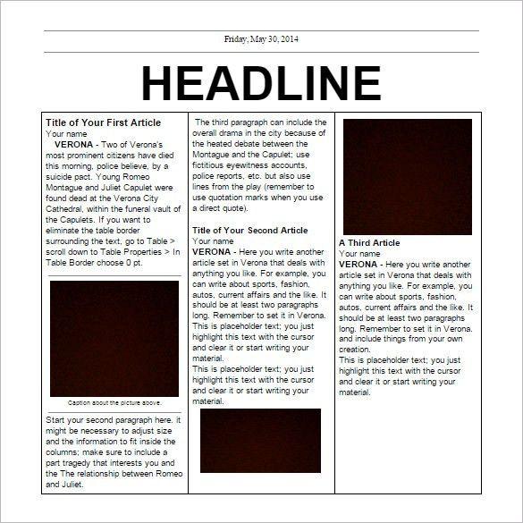 Newspaper Template Free Editable Newspaper Template Portrait - online newspaper template