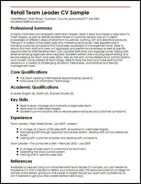 team leader sample resume