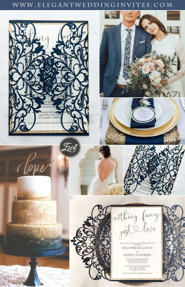 navy laser cut wedding invitation with glittery backer and love design EWDM010 as low as $2.29